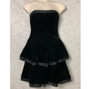 Vintage Velvet Tiered Dress with Satin Trim